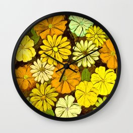Abstract #417 Flower Power #5 Mellow Yellow Wall Clock