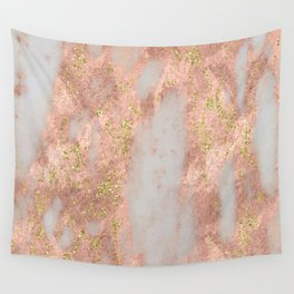 Rose Gold Marble with Yellow Gold Glitter Wall Tapestry
