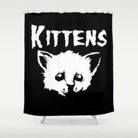 kittens Shower Curtains featuring Goth Kittens by Ludwig Van Bacon