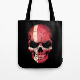 Dark Skull with Flag of Denmark Tote Bag