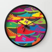 sneakers Wall Clocks featuring Sneakers by Glen Gould