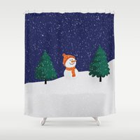 snowman Shower Curtains featuring Snowman ... by Mr and Mrs Quirynen