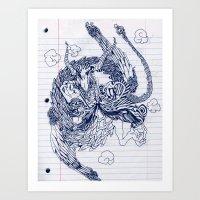 notebook Art Prints featuring notebook dragon by Jordan Piantedosi