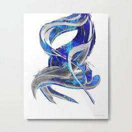 Blue White And Gray Art - Flowing 3 - Sharon Cummings Metal Print