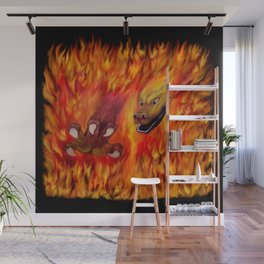 Red Dragon Claw in flames Wall Mural