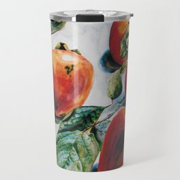 Watercolor Persimmons With Leaves Travel Mug