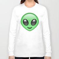 emoji Long Sleeve T-shirts featuring Alien Emoji by Nolan Dempsey