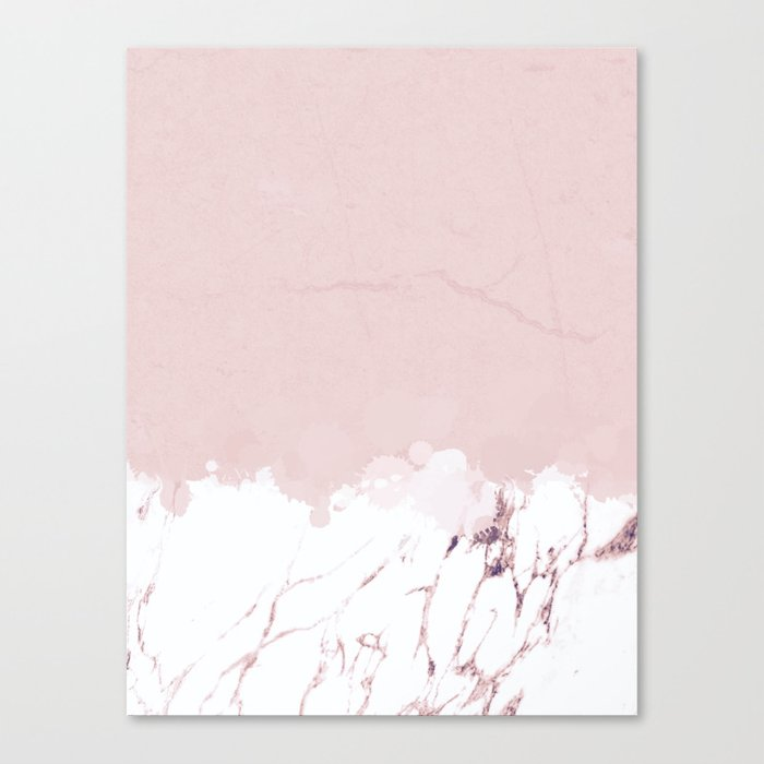 Marble spill on pink concrete Canvas Print