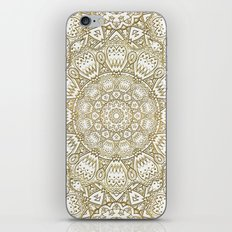 Golden Mandala in Cream Colored Background iPhone Skin