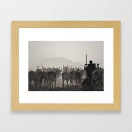 Afar Cattle Herder Framed Art Print