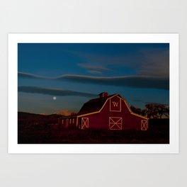 Hunter's Moon and Barn Art Print