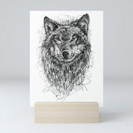 Scribble Wolf Mini Art Print