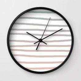 Simply Drawn Stripes in Coral Peach Sea Green Gradient Wall Clock