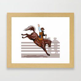 Rodeo Cowboy Riding Bucking Bronco Horse Framed Art Print