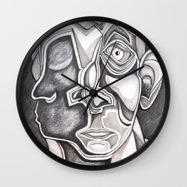Two-faced Faces Wall Clock
