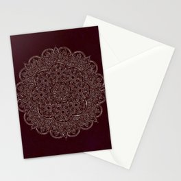Royal Burgundy Rose Gold Marble Mandala Stationery Cards