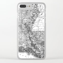 Vintage Map of Louisiana (1896) BW Clear iPhone Case