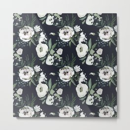 Hand painted white mauve green dark gray watercolor flowers Metal Print