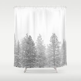 Snow Day // Black and White Winter Landscape Photography Snowing Whiteout Blizzard Shower Curtain