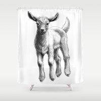 White Goat Baby SK133 Shower Curtain