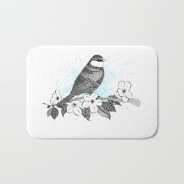 Bird and cherry blossoms Bath Mat