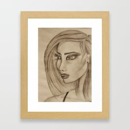 Woman with Big Lashes Framed Art Print