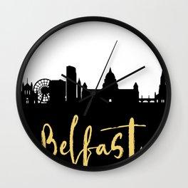 BELFAST NORTHERN IRELAND DESIGNER SILHOUETTE SKYLINE ART Wall Clock