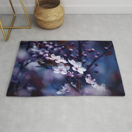Magic Violet Apple Tree Blossoms Photography Rug