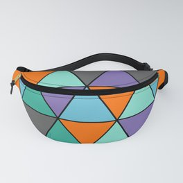 Blue, Purple, Orange and Grey Cool Triangles Pattern Fanny Pack