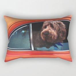 Dog in a coral car Rectangular Pillow