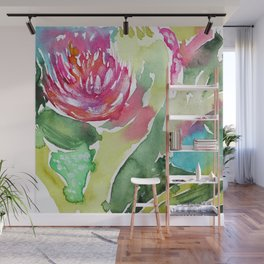 Floral abstraction || watercolor Wall Mural