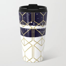 Blue & Gold Hexagon Travel Mug