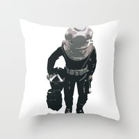 scuba Throw Pillows featuring Scuba Diver by Jentfah
