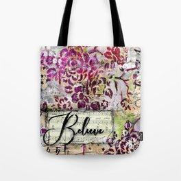 Believe Vintage Floral Tote Bag
