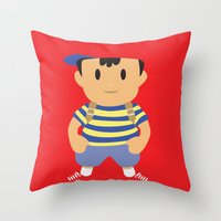 earthbound Throw Pillows featuring Ness - Earthbound - Super Smash Brothers - Minimalist by Adrian Mentus
