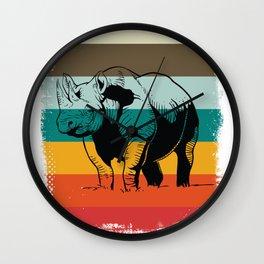 Rhino Colorful Rhinoceros Wall Clock