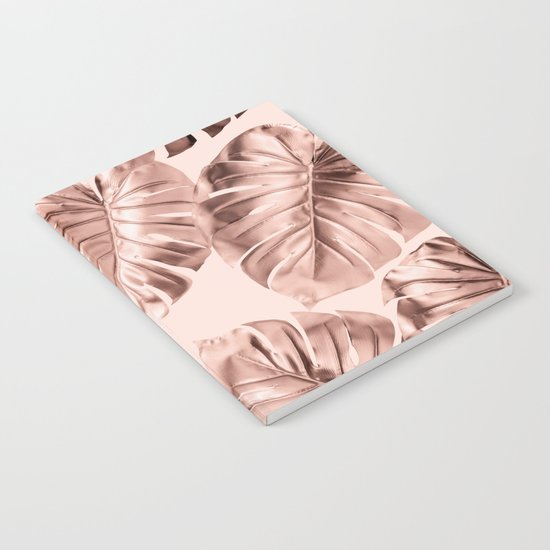 Rose Gold Monstera Leaves on Blush Pink 2 by followmeinstead