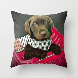 Chocolate Labrador Retriever Puppy in a Grocery Cart Throw Pillow