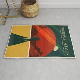 SpaceX Travel Poster: Phobos and Deimos, Moons of Mars Rug