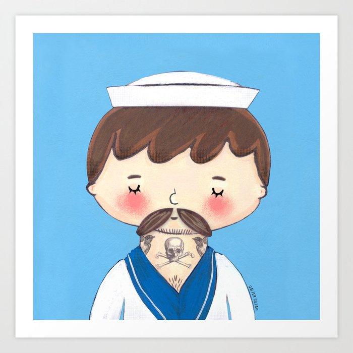 Ahoy Tattooed Sailor  Art Print