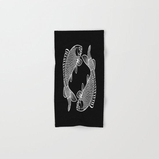 Black White Koi Hand & Bath Towel