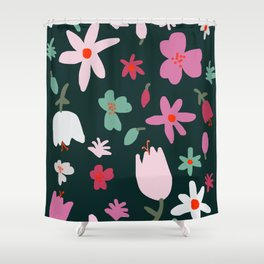 Handmade Out In the Forest Floral Patter Shower Curtain