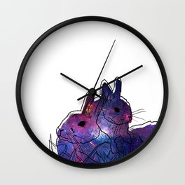 Bunny Mother And Baby Wall Clock