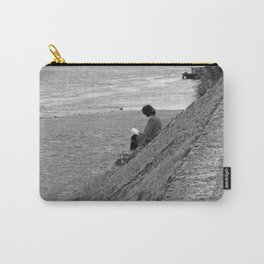 Woman Reading on Hill in France - Black and White Carry-All Pouch