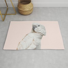 Cockatoo Parrot Photography | Blush Pink | Peach | Happy | Tropical | peek-a-booFun | Paradise Rug