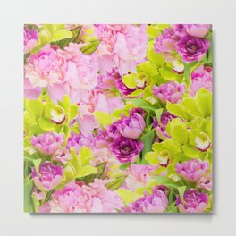 Tropical Symphony Of Peonies And Orchids Metal Print