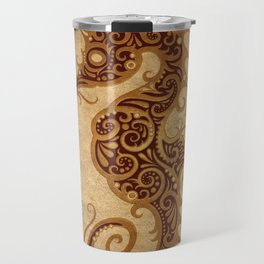 Aged Vintage Intricate Tribal Seahorse Design Travel Mug