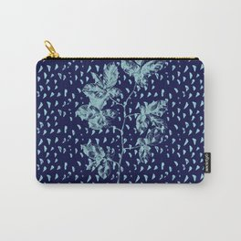 Navy and aqua blue faux glitter raindrops and foliage Carry-All Pouch