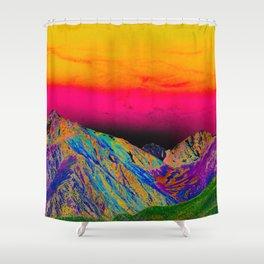 California's Sierra Mts-Digital Art, Green & Purple Shower Curtain