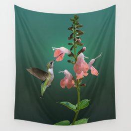 Tropical Sage And Hummingbird Wall Tapestry